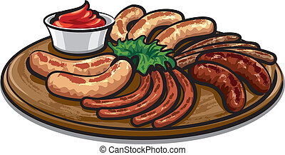 grilled sausages with sauce on the board