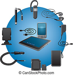 devices accessories - mobile devices accessories icon set
