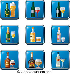 alcohol drinks icon set buttons
