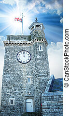 Clock Tower in Dover. - Clock Tower in Dover at sunset.
