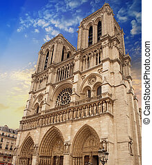 Notre Dame Cathedral Facade in Paris.