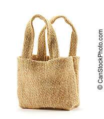 Brown sackcloth bag on white background - Brown sackcloth...