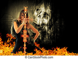 Warrior woman holding a fire sword with skull on background