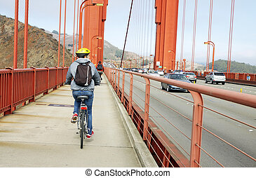 Tourist Cyclist in the Golden Gate - Cycling in the Golden...