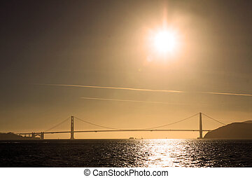 Golden Gate sunset - Panoramic view of the Golden Gate...