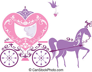 Vintage fairytale horse carriage isolated on white...