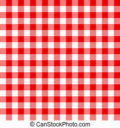 red white plaid tablecloth - vector illustration of a red...