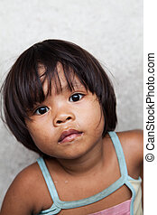 Child living in poverty - Asian child living in poverty -...
