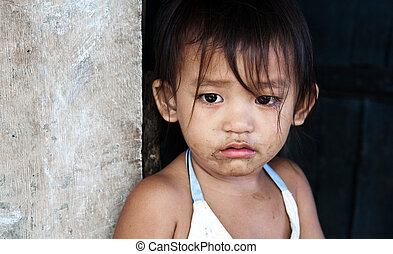 Poverty - Asian child from impoverished area