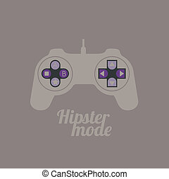 Video game controller - Illustration of style hipster,...