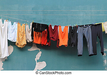 Clothes line - Air drying laundry at outside clothes line