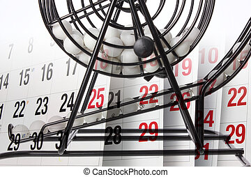 Bingo Game Cage and Calendar - Composite of Bingo Game Cage...