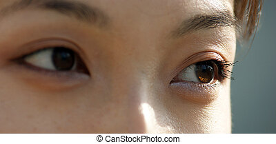 Close-up of the eyes of a young Asian woman in the back...