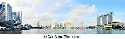 Singapore embankment - Singapore quayside with Marina Bay...
