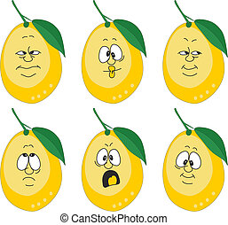 Emotion cartoon yellow lemon set 004