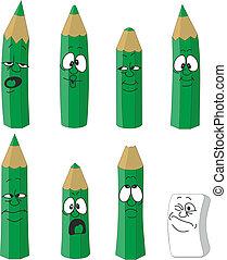 Cartoon emotional green pencils set color 15 - Vector...