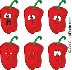 Emotion cartoon red pepper vegetables set 004