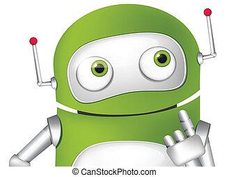 Cute Robot - Cartoon Character Cute Robot. Thinking Avatar....