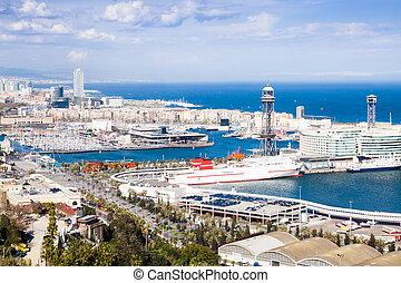 Port Vell of Barcelona from Montjuic - birdview Port Vell of...