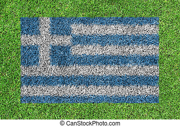 Flag Greece as a painting on green grass