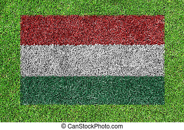 Hungary flag as a painting on green grass