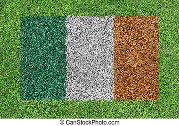 Flag Republic of Ireland as a painting on green grass