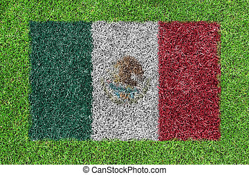 Flag Mexico as a painting on green grass