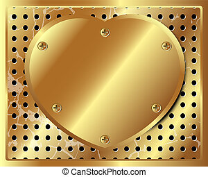 Gold metal heart on the background of perforated metal