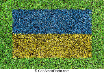 Flag Ukraine as a painting on green grass