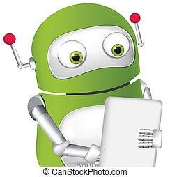 Cute Robot - Cartoon Character Cute Robot Tablet User Vector...