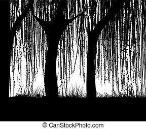 Willows - Willow tree silhouette, abstract art