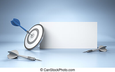 Advertising Concept - One dart hit the center of a grey...