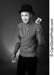 retro portrait of  mime with playing Cards