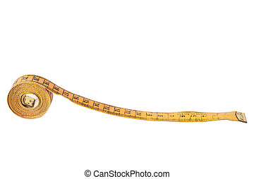 Old tape measure on white background
