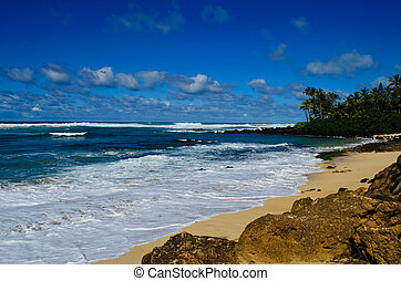 Beach off Oahu southshore - A view from the beach off Oahu