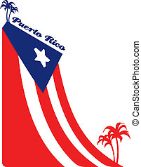 Puerto Rico flag - The flag of Puerto Rico and palms