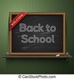 Back to school, blackboard on the shelf