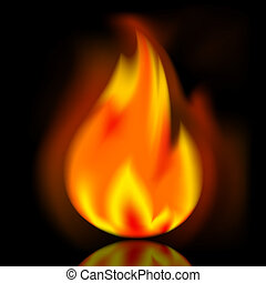Fire, bright flame on black background
