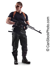 Police officer is holding Kalashnikov. Isolated on white.