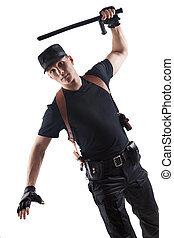 Police officer is using baton. Isolated on white.