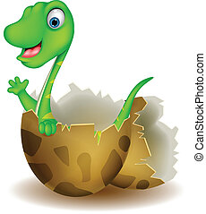 Little dinosaur birth - vector illustration of Little...
