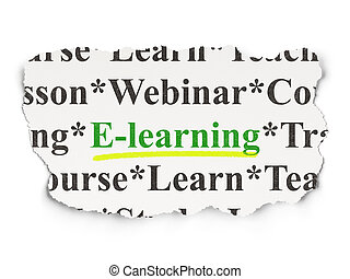 Education concept: E-learning on Paper background -...
