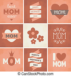 Mother's Day Cards Collection - A set of cute retro designs...