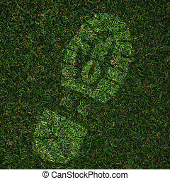 foot print made in grass