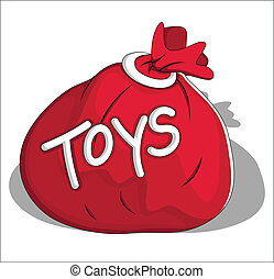 Christmas Toys Bag Vector - Cartoon Toys Bag Vector...