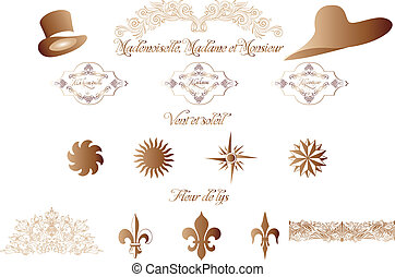callicraphic French design elements isolated on white -...
