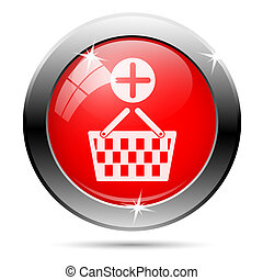 Shopping basket add icon with white on red background