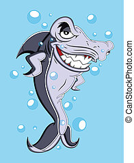Shark Vector Illustration - Naughty Shark Fish Smiling...