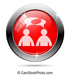 Forum icon with white on red background