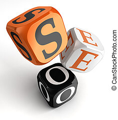 seo orange black dice blocks on white background. clipping...